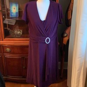 Purple stretch dress with beaded jewel accessory